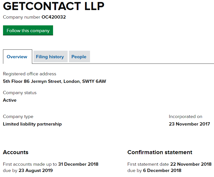 GETCONTACT LLP