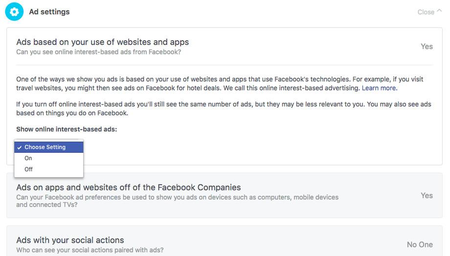 исключить свои персональные данные из рекламных кампаний в facebook