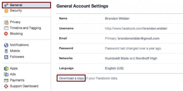скачиваем резервную копию своего акаунта на фейсбуке