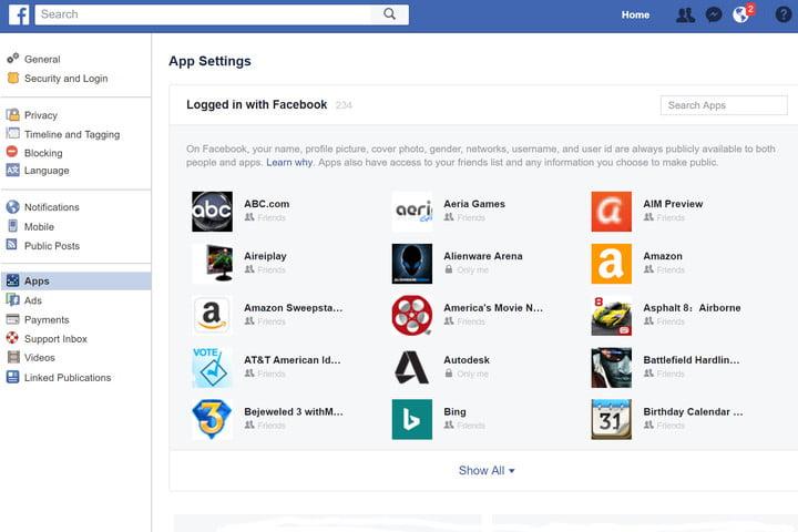 смотрим список подключенных приложений на фейсбуке
