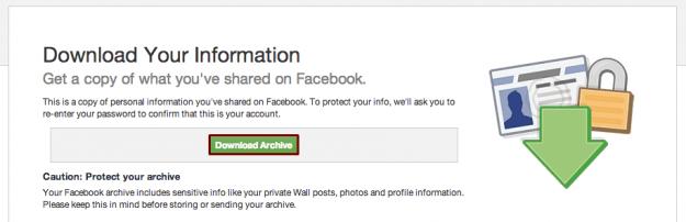 сохраняем данные фейсбука на комп